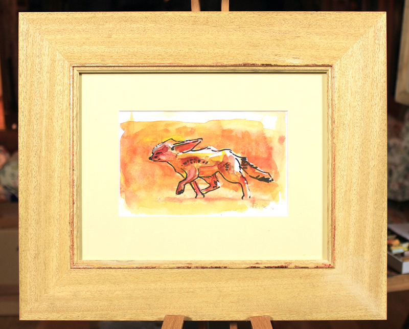 'Erwin', Watercolour and Indian Ink mounted in a natural wood frame with copper leaf bevel, 42x36cm, £350