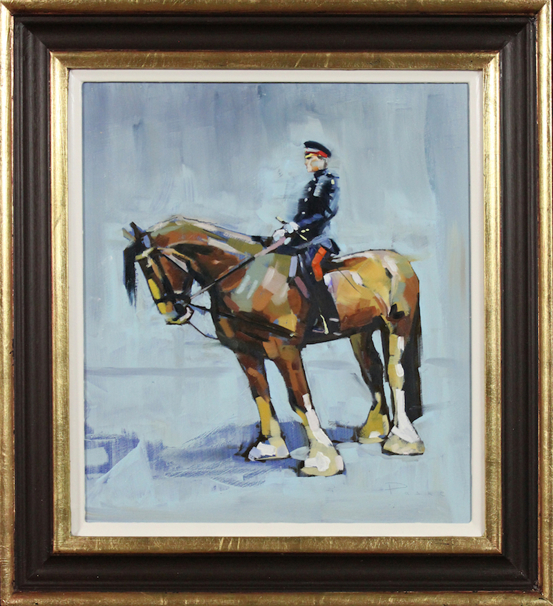 Morning Rehearsal at Knightsbridge Barracks, Oil on board, 32 x 26 cm *S O L D*