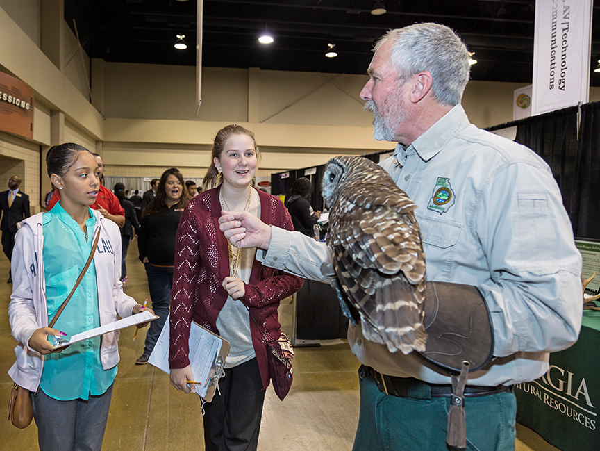 Students learned about the barred owl and its habitat in a demonstration by Pete Griffin, a program development specialist with the Wildlife Resources Division of the Georgia Department of Natural Resources.