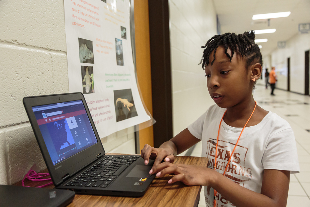 "Corey,    a 3rd grade and history enthusiast, enjoyed researching her project on the Underground Railroad. ""What I enjoyed most was finding the information with the books and with the BrainPop video because I really like learning about history."" she says."