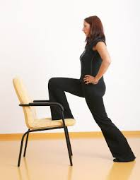 While one foot is planted firmly on the floor life your leg and place your opposite foot on a stable, secure chair. Keep both heels down as you ease your torso forward careful to keep your front knee over your ankle. 8.      TRIANGLE POSE