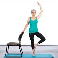 Place your right hand on the back of the chair and engage your right leg from the hip through your foot. Lift your left leg and place the sole on your inner calf or thigh (not the knee). If your balance is good, lift your left arm over your head. REFERENCES 1.      Holley J. The Usage and Effectiveness of Complementary and Alternative Weight Control Methods. University of California Pennsylvania. 2011 2.      Javnbakht M, et al. Effects of yoga on depression and anxiety of women. Complementary Therapies in Clinical Practice. 2009; 15:102. 3.      Sapolsky R M, Why Zebras Don't Get Ulcers: An Updated Guide to Stress, Stress-Related Diseases and Coping, New York: W.H. Freeman and Company, 1999. 4.      Smith C, et al. A randomized comparative trial of yoga and relaxation to reduce stress and anxiety. Complementary Therapies in Medicine. 2007; 15:77.