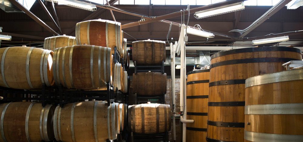 Oak barrels and foudres in the brewery.