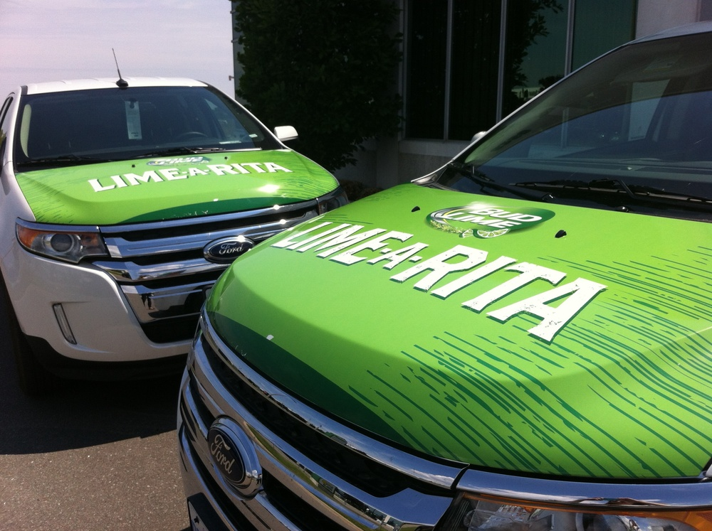 Bud Lime Lime-a-Rita vehicle wrap (partial)