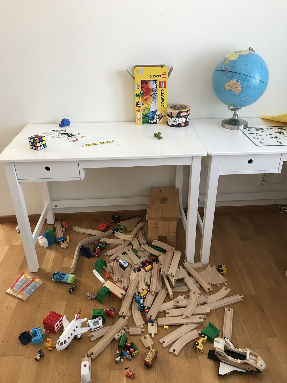 Why do the kids never put their toys back when they have finished playing?