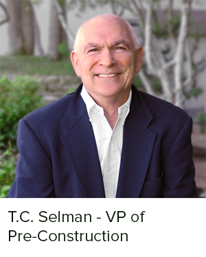 T.C. Selman has 40+ years of experience in the development, design and construction of a broad range of real estate markets.  His projects range from single family, multifamily, student housing, commercial, healthcare and high technology spanning the United States, Canada, Puerto Rico, Europe and the UK.  T.C.'s career began in Austin developing single and multifamily projects throughout Texas after architecture school at the University of Texas.  His mid-career was spent with an international Swiss based medical technology company where he was Group Vice President responsible for all global real estate, design and construction.
