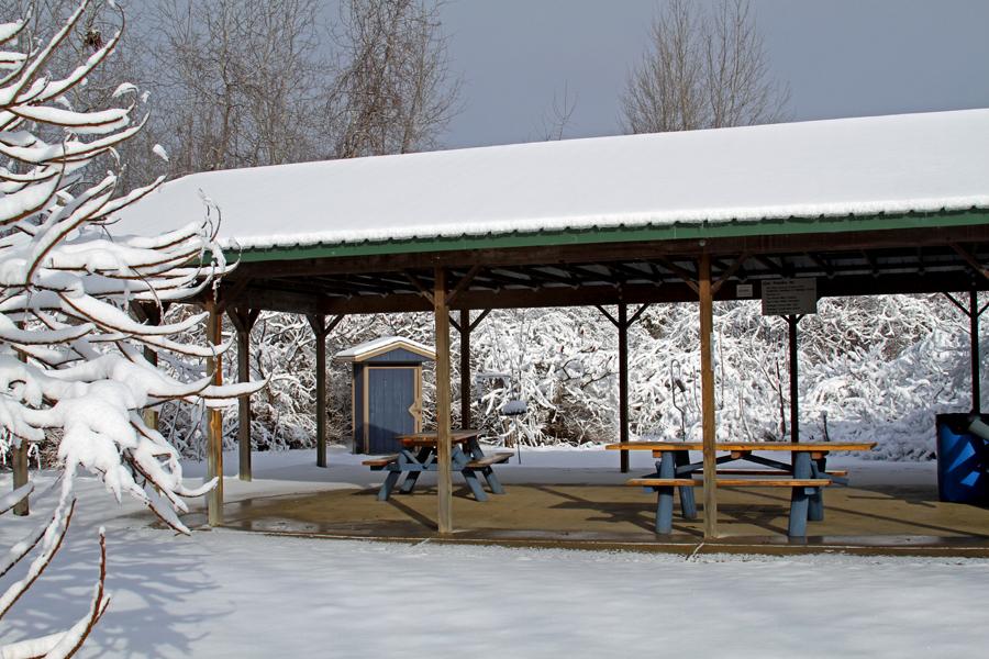 snowy pavilion