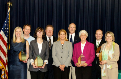 2012 Hall of Fame: Theresa Bernhardt; Mary Goodwillie Nelson, daughter of Peter Wege; Terry McCarthy, Wege Foundation; Gloria Miller, Carol Rose who accepted the award for Robert Slingerland, Greg Moss, Ruddiman Creek Task Force; Superintendent Gene Pierce, Tuscola Intermediate School District; Tom Bailey; and Paul Steen, Huron River Watershed Council.