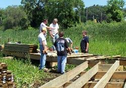 volunteers building Al Bell Trail