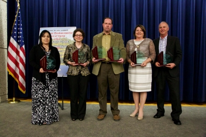 (L to R) Stephanie Kozich, Patricia McNinch, Pat Whalen  (Accepted for P.J. Hoffmaster and Genevieve Gillette), Kathy Evans, John WolfE, son of Dr. Willard WolfE