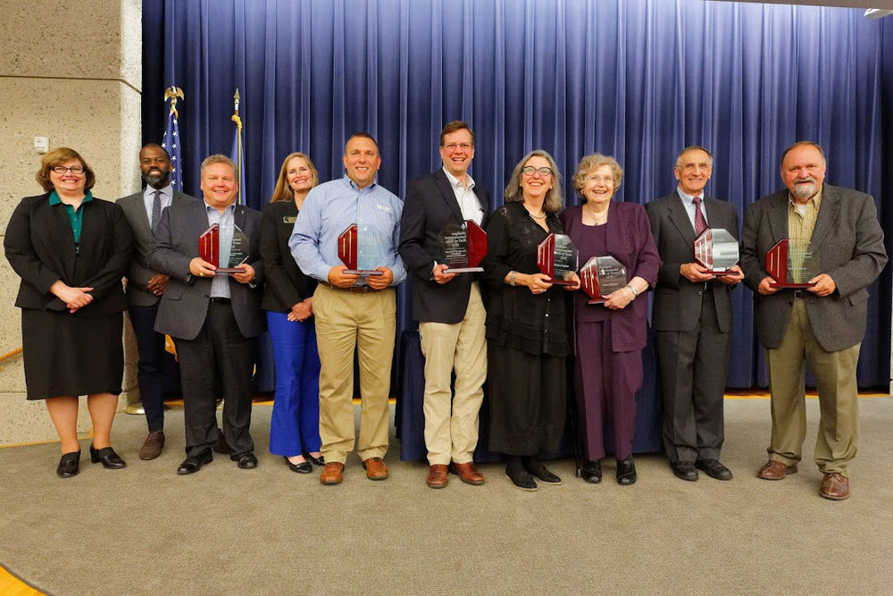 2018 Hall of fame INductees  with awards l-r: Jim Johnson (GRLA), TRAVIS williams (PROJECT Clarity) Glenn Chown ( Grand Traverse Reg. Land Conservancy) Helen Taylor, Mrs. Vern Ehlers. Bill Murphy, Bob Garner