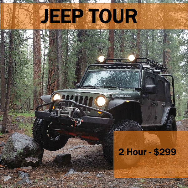 2 hr - private jeep tour - Price includes up to 4 riders. Min Age 3 years old to ride as a passenger