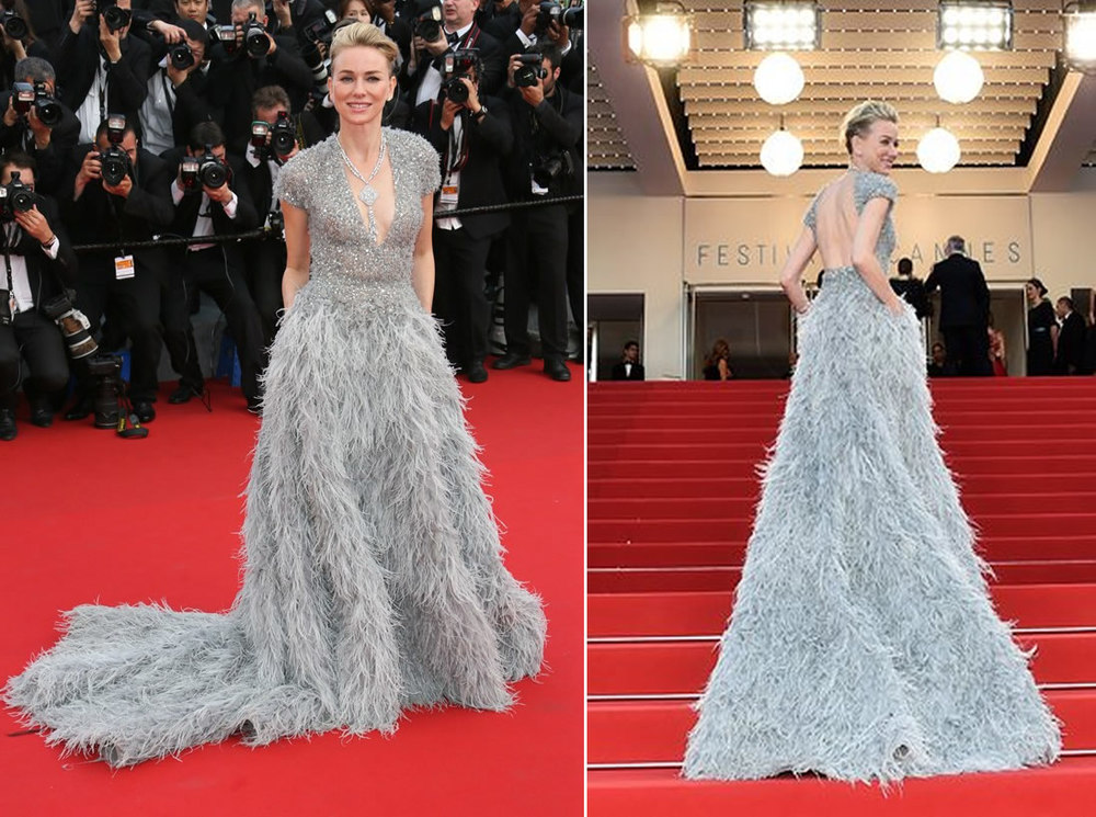 Naomi Watts in Elie Saab and Chopard jewels,beautiful, though I would've liked the dress with a little less train, therefore less feathers.