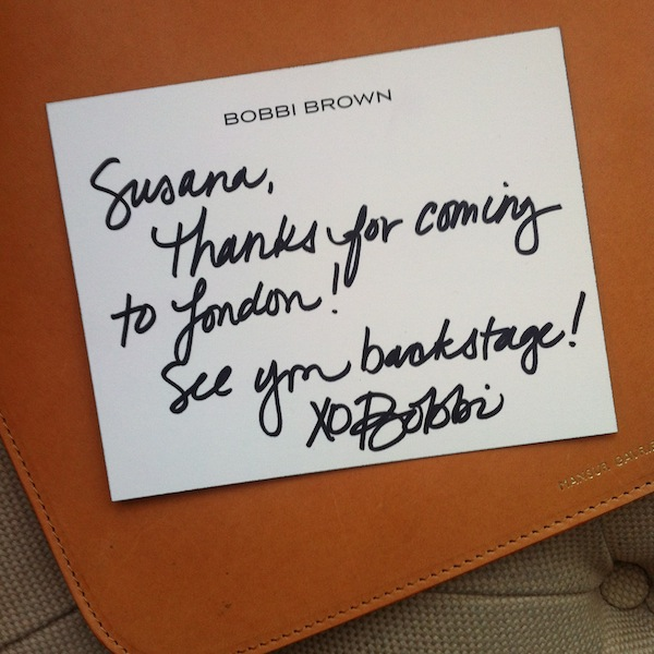 Personal note from the talented Bobbi Brown