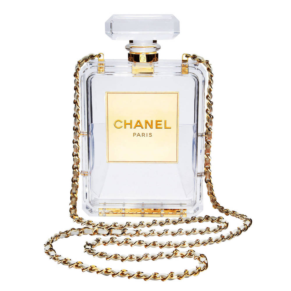 Chanel Number 5 plexiglass chain bag.