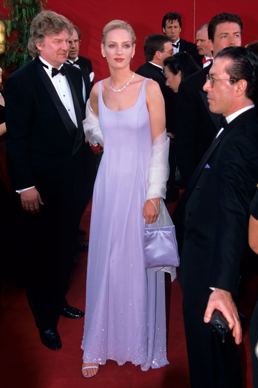 Uma Thurman wearing Prada. I remember this dress so well, how it was photographed in several lighting possibilities, so that the fabric would not be see-thru.