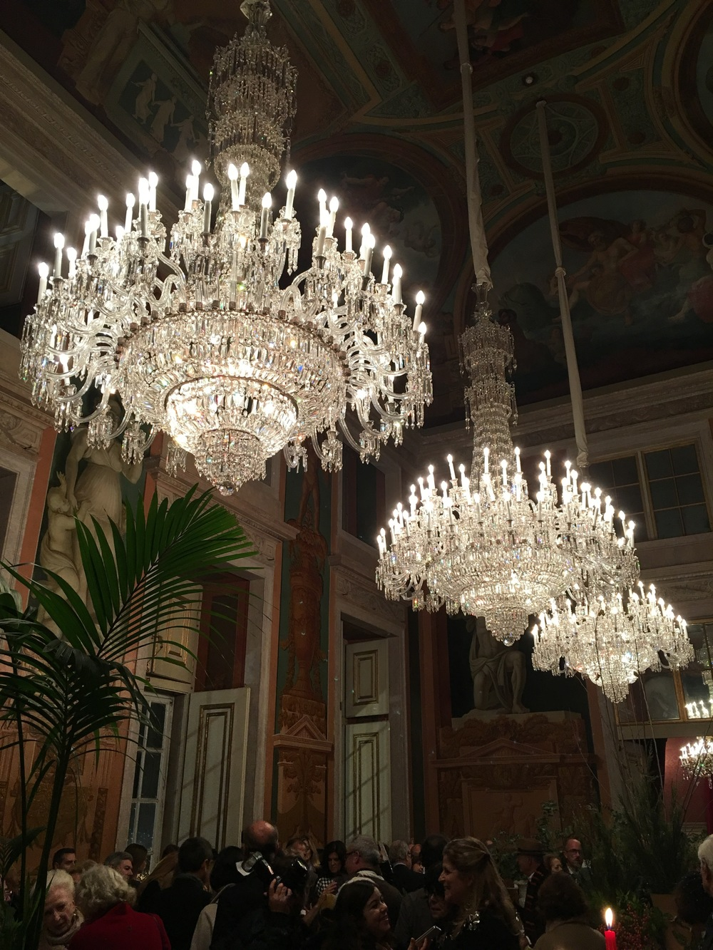 The three grand chandeliers in the hall.