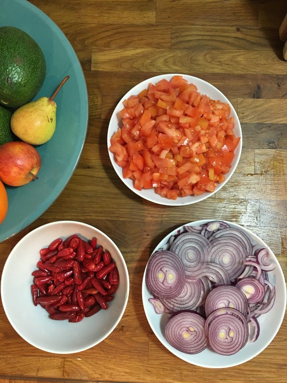 Chilli's, onions and tomato.