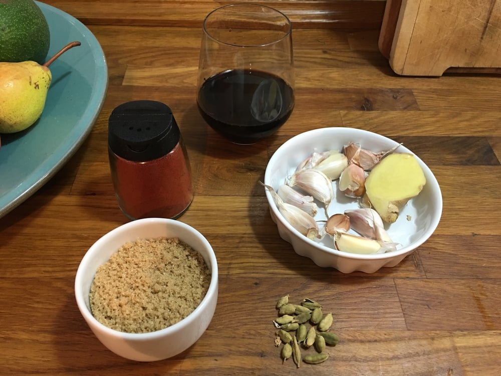 Brown sugar, smoked paprika, garlic,ginger and cardamom.