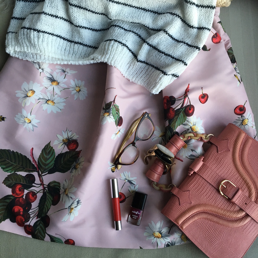 Small details... cherries and daisies marry well with stripes, swipe on a Clinique Chubby Stick, nail polish by Nails 4 Us, colour Purple Rain, Rayban glasses, bracelets By Malene Birger at Nude Fashion Store and my vintage Trussardi bag.