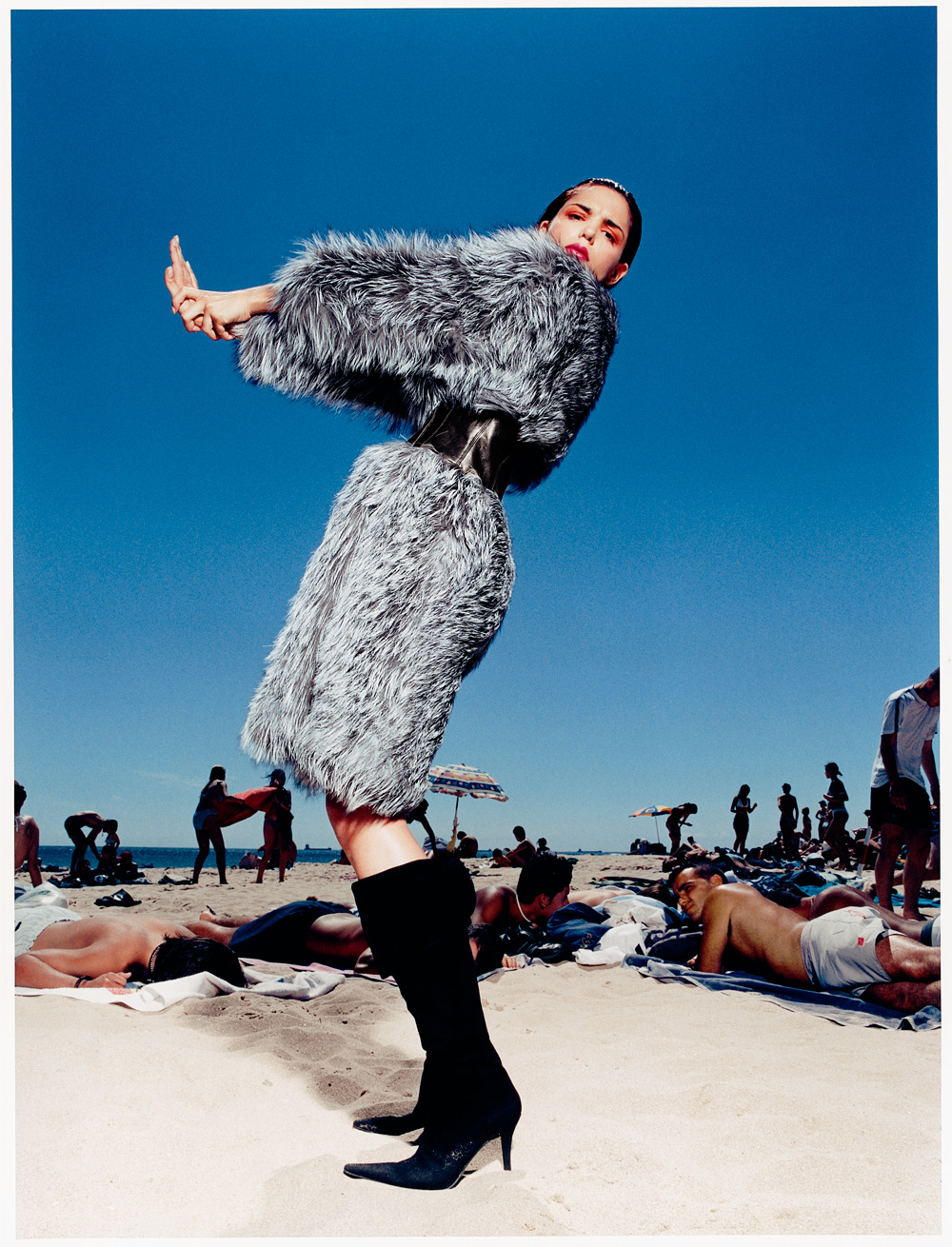 Fur coats on Carcavelos beach, shot in June probably!