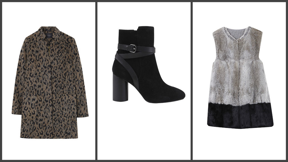 Gorgeous, and discreet leopard coat, classic suede boots, and a rabbit fur gilet, all at Cortefiel.