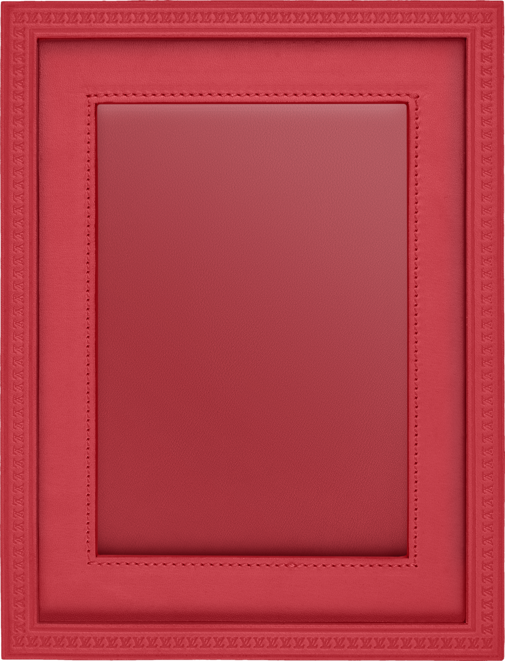 Raspberry coloured leather covered picture frame from Louis Vuitton.