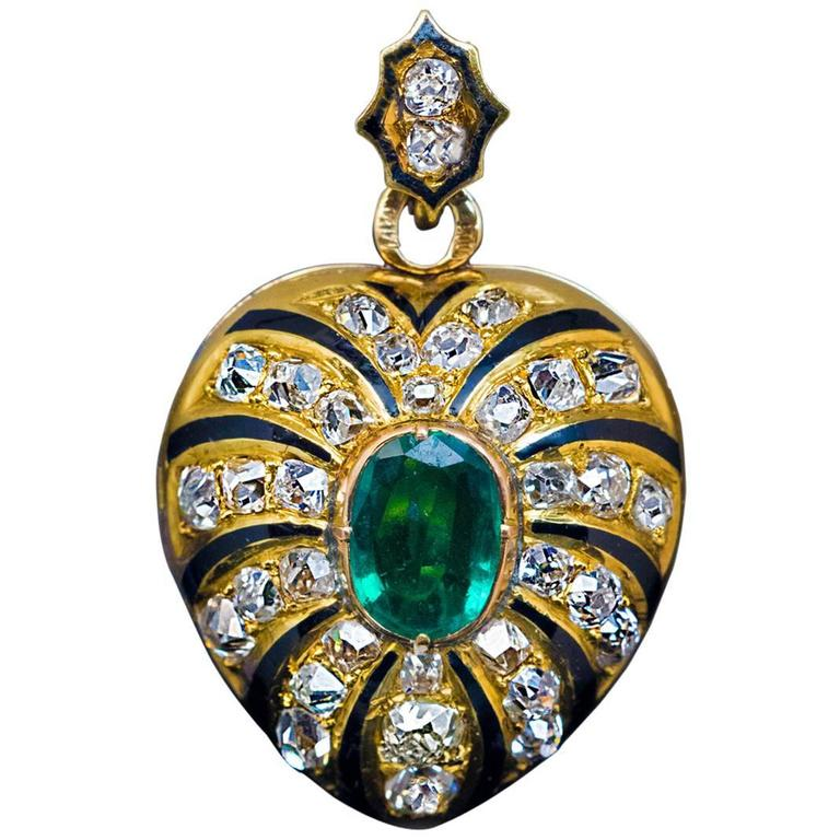 Antique emrald and diamond pendant.