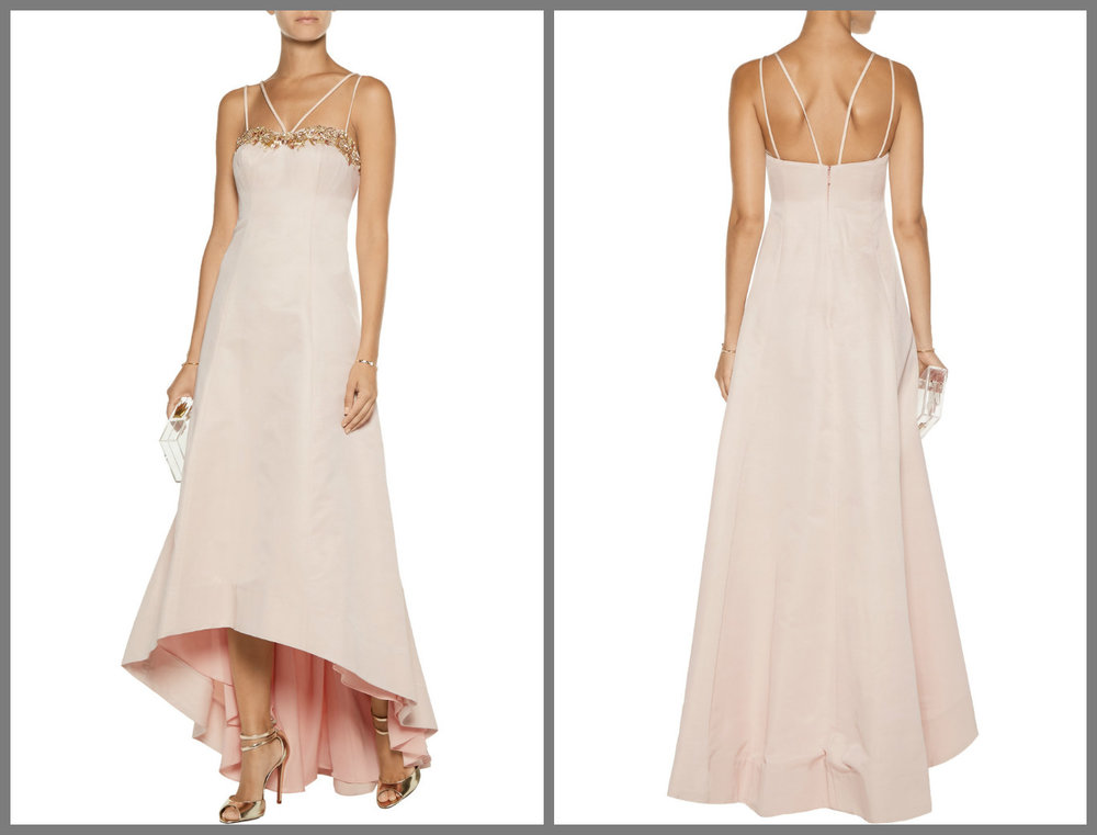 Another Marchesa Notte, blush pink for a young bride and I'd remove the middle strap or the side one, and not keep both.