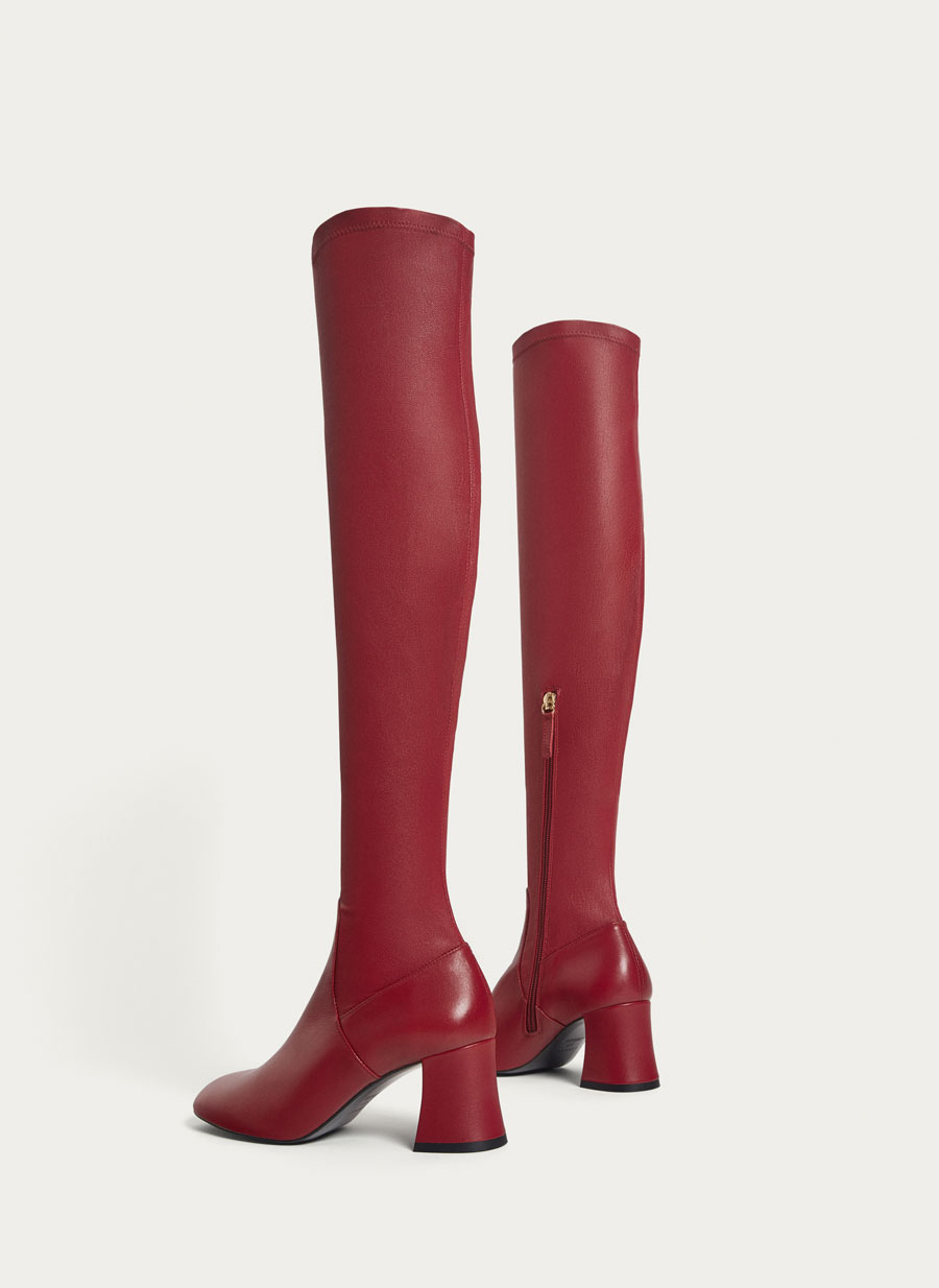 Red leather boots at UTERQUE.