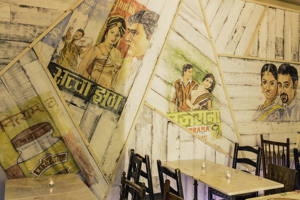 Bollywood kitsch decor.