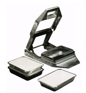 The Angel Crimp is a manual, table top crimper that closes foil trays tightly, quickly and securely