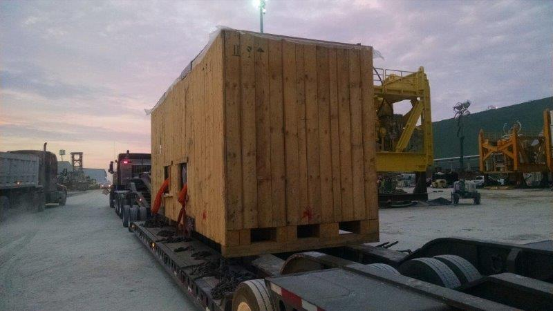 "174,000 pound crated ""Metal Roller"" from the Port of Houston, TX to a concrete manufacturing plant in Maryneal, TX."