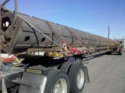 "126' long ""Elevating Column"" from Quincy, MA to Calexico, CA."