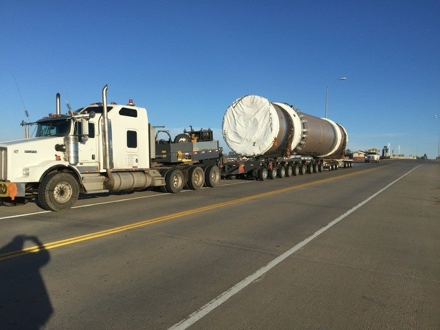 "243,000 pound ""Rotary Steam Tube Dryer"" from South Heart, ND to the Port of Houston, TX for export."