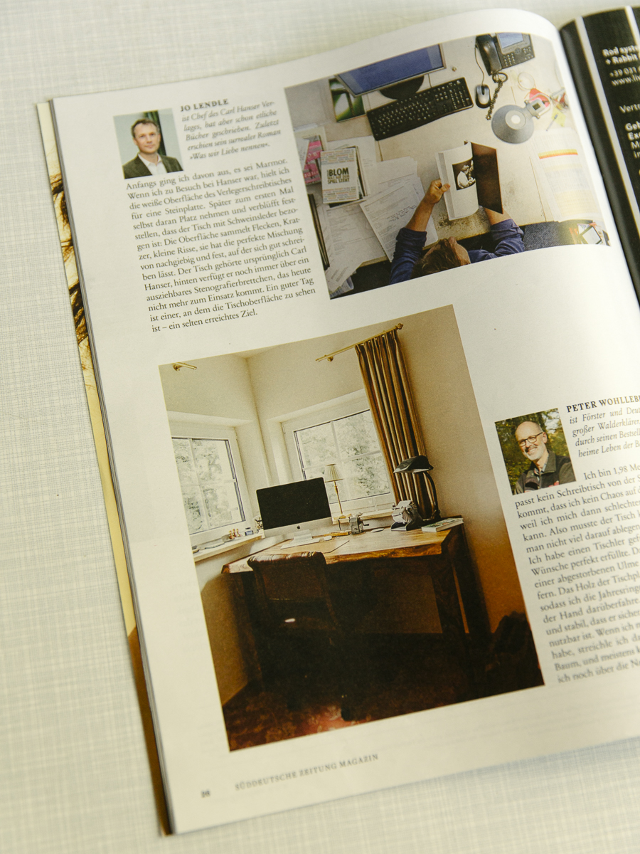 """About the desk: A design Magazine"" Peter Wohllebens desk in his beautiful home in the Eifel."