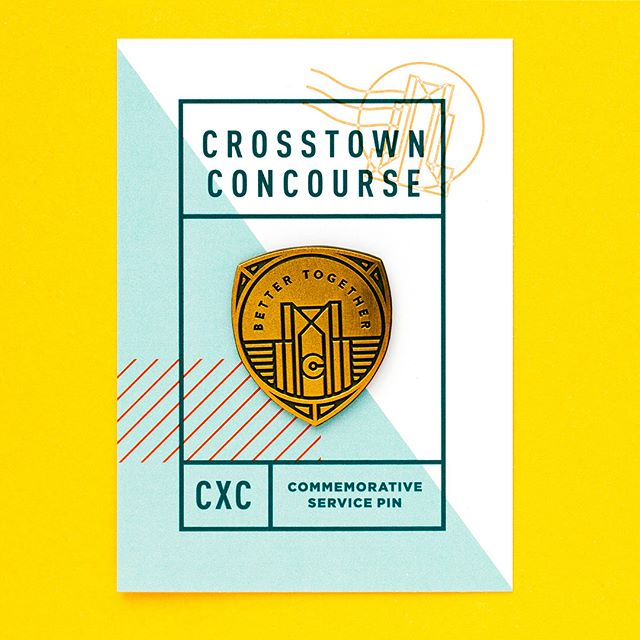 Inspired by the Sears employee service pins of yesteryear, we created this series of pins for the grand opening of @crosstownconcourse, combining the building's history with its new life as a vertical urban village. #fbf #wearelfb