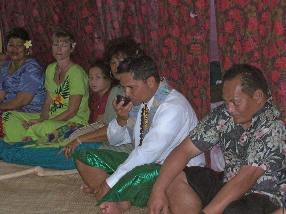 Once in a lifetime - After the Kava stick was presented to Maril, a tea was made of the kava and each of the chief's took a sip of it from a coconut shell. Susiana was sitting next to her son, Maril, feeling great joy that he would now represent her family here in California. (Because of Maril's Faith, he pressed his lips to the cup, but didn't drink it, which was suggested by other men in the village who were of the same Faith.)