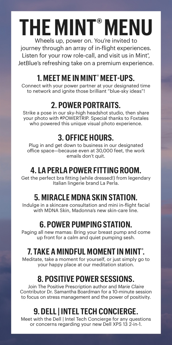 Marie Claire's 2017 Power Trip: JetBlue in-flight activation menu.