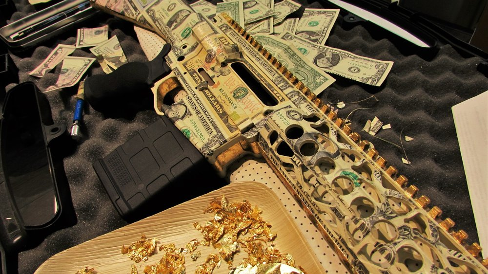 "AR RIFLE - ""Money Kills - RICH OR POOR"""
