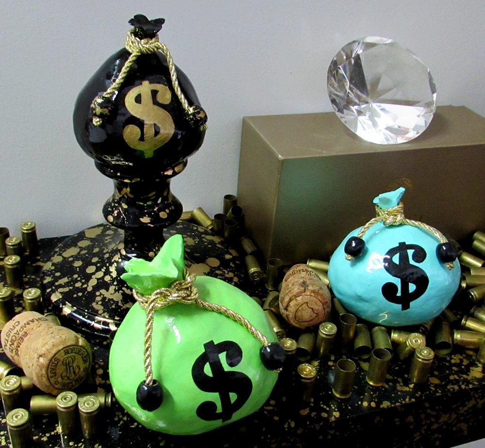 Mini Money Bag Sculptures