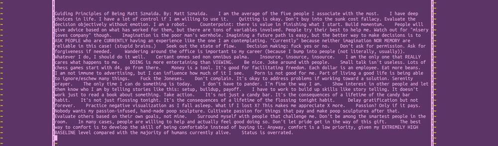 Matt's Guiding Principles, courtesy of the Facebook.