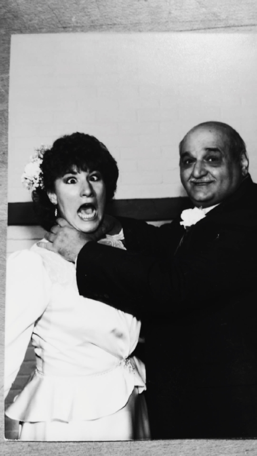My aunt with her father on her wedding day. 1986.
