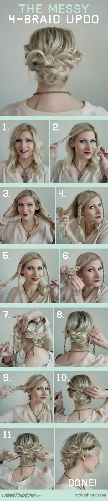 THE MESSY FOUR BRAID UPDO