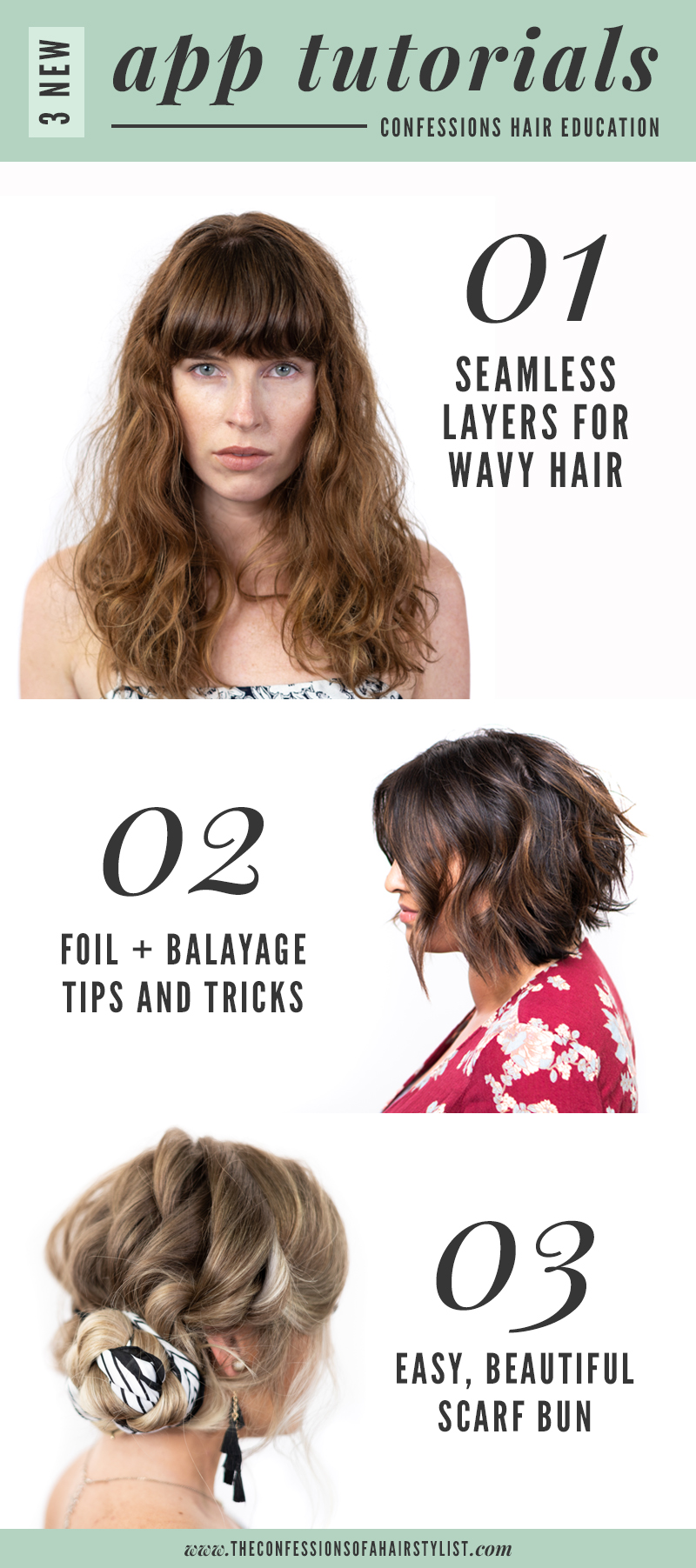 New July tutorials + looks on the Confessions of a Hairstylist education app!