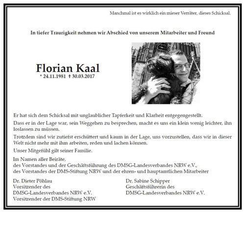 - Gemeinsam mit der DMSG NRW nehmen wir in tiefer Traurigkeit Abschied von Florian Kaal.