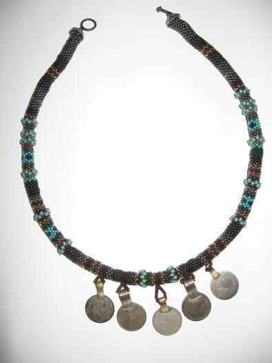 Peyote Necklace with Afghan Coins