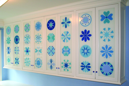 Stenciled Glass Cabinets