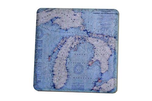 Cyan Vintage Michigan Map Coaster Mm81cstr Iconic Detroit