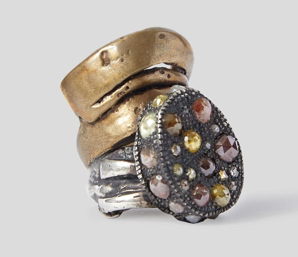 Inel din argint si bronz, cu diamante, Hunrod, rickowens.eu, 16.250 euro